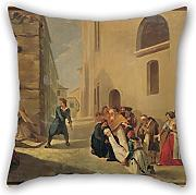 Loveloveu 16 X 16 Inches / 40 By 40 Cm Oil Painting Tsokos Dionysios - The Assassination Of Capodistria Pillowcase ,two Sides Ornament And Gift To Girls,gf,family,dining Room,divan,gril Friend