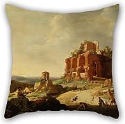 Loveloveu Oil Painting Breenbergh, Bartholomeus - The Stoning Of Saint Stephen Pillowcase/Fundas para almohada 20 X 20 Inches / 50 By 50 Cm Gift Or Decor For Floor,kitchen,divan,her,living Room,kids Room - Twin Sides