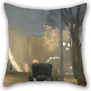 Loveloveu Oil Painting Clarice Beckett - Collins Street, Evening Cushion Covers 16 X 16 Inches / 40 By 40 Cm Best Choice For Chair,divan,bar Seat,husband,dinning Room,wife With Double Sides
