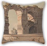 Loveloveu Oil Painting Francis Towne - The Claudian Aquaduct, Rome Pillowcover 16 X 16 Inches / 40 By 40 Cm For Bar,divan,living Room,coffee House,christmas With Double Sides