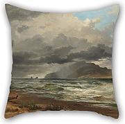 Loveloveu Oil Painting Nicholas Chevalier - Cook Strait, New Zealand Pillow Cases 16 X 16 Inches / 40 By 40 Cm Best Choice For Lounge,bench,family,divan,christmas,teens Boys With Twin Sides