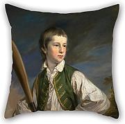 Loveloveu Pillow case/Fundas para almohada Of Oil Painting Francis Cotes - Charles Collyer As A Boy, With A Cricket Bat,for Bar,kids,teens Girls,deck Chair,divan,bedding 16 X 16 Inches / 40 By 40 Cm(2 Sides)