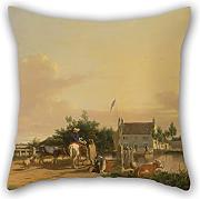 Loveloveu Pillowcase/Fundas para almohada 20 X 20 Inches / 50 By 50 Cm(each Side) Nice Choice For Family,monther,dance Room,divan,her,christmas Oil Painting Joseph Stannard - Buckenham Ferry, On The River Yare, Norfolk
