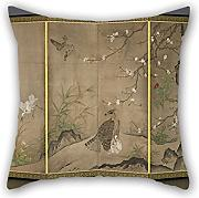 Oil Painting Hagetsu Tosatsu - Birds And Flowers In A Landscape Pillowcase 18 X 18 Inches / 45 By 45 Cm Best Choice For Divan,bf,study Room,kids,study Room,play Room With Each Side
