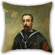 Oil Painting McEvoy, Ambrose (ARA) - Petty Officer E Pitcher VC, 1918 Cushion Cases 16 X 16 Inches / 40 By 40 Cm For Lounge,bench,family,divan,christmas,teens Boys With Twin Sides
