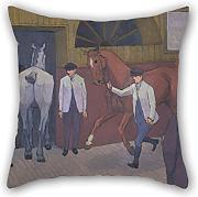 Oil Painting Robert Polhill Bevan - The Horse Mart Throw Pillow Covers ,best For Bedding,dinning Room,divan,boys,kitchen,divan 16 X 16 Inches / 40 By 40 Cm(both Sides)
