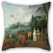 Pillow Cases Of Oil Painting Jean-Antoine Watteau - Embarking To Cythera 16 X 16 Inches / 40 By 40 Cm,best Fit For Shop,divan,kids Boys,teens Boys,kitchen,saloon Each Side