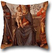 Pillowcase 20 X 20 Inch / 50 By 50 Cm(each Side) Nice Choice For Sofa,festival,bar,study Room,divan,boy Friend Oil Painting Marco Palmezzano (studio Of) - Virgin And Child With Saints by artistdecor