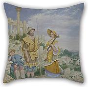 Pillowcase Of Oil Painting Richard Dadd - Wandering Musicians,for Outdoor,divan,drawing Room,relatives,chair,bf 16 X 16 Inches / 40 By 40 Cm(double Sides)
