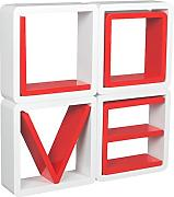 "Set de 4 elementos Retro estilo 70 para Salon cubo estante de la pared estante de la pared estante de color rojo con letras blancas ""LOVE"""
