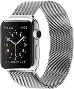Spritech - Correa de repuesto para Apple Watch, de acero inoxidable, estilo Milanese Loop, accesorio para reloj, color Plateado