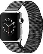 Spritech - Correa de repuesto para Apple Watch, de acero inoxidable, estilo Milanese Loop, accesorio para reloj, color negro