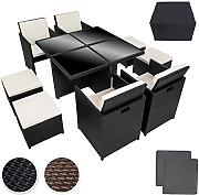 Produktbild: TecTake Conjunto muebles de jardín en aluminio y ratán sintético comedor juego 4+4+1 + funda completa + set de fundas intercambiables | tornillos de acero inoxidable - disponible en diferentes colores - (negro | no. 401986)