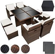 Produktbild: TecTake Conjunto muebles de jardín en aluminio y ratán sintético comedor juego 4+4+1 + funda completa + set de fundas intercambiables | tornillos de acero inoxidable - disponible en diferentes colores - (marrón negro | no. 401985)