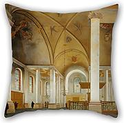 Throw Pillow Case Of Oil Painting Pieter Saenredam - The Nieuwe Kerk In Haarlem,for Wife,couples,wedding,bar Seat,divan,boy Friend 18 X 18 Inches / 45 By 45 Cm(both Sides)