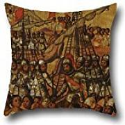 20 X 20 Inches / 50 By 50 Cm Oil Painting Miguel Gonzales - La Conquista De M??xico. Tabla XXIII Throw Pillow Covers,2 Sides Is Fit For Bedding,dinning Room,divan,boys,kitchen,divan