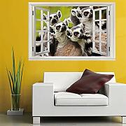 3d Etiqueta pared vista ventana animal (60X90