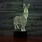 3D Illusion Night Light,Burro 7 Colores Cambiantes