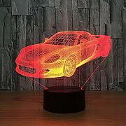 3D Visual Sports Car Shape Night Lights LED