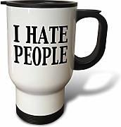 3dRose I Hate People Travel - Taza (Acero