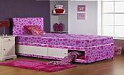 3FT SINGLE SOMNIOR PINK LOVE HEART DIVAN BED WITH SLIDER STORAGE AND HEADBOARD by Somnior Beds