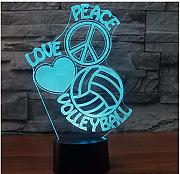 7 Cambio De Color Usb 3D Led Loves Peace Night