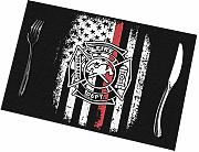 Alvahw Fire Firefighter Thin Red Line Manteles