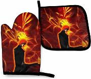 AOOEDM Oven Mitts and Pot Holders Sets Anime