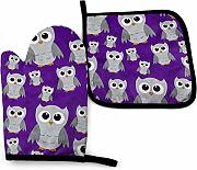 AOOEDM Oven Mitts and Pot Holders Sets Sky Owl -
