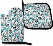 AOOEDM Oven Mitts and Pot Holders Sets Winter Snow