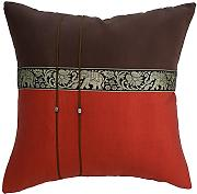 Avarada Elephant Throw Pillow Cover Decorative Sofa Couch Cushion Cover Zippered 16x16 Inch (40x40 cm) Brown Burnt Orange Scarlet ELS001 by Avarada