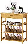 Bambú Natural Zapatero Bench 3 Tier Shoe