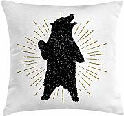 Bear Throw Pillow Cushion Cover, Sketch of Tribal