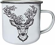 Beautiful Deer With Flowers in Horns Retro, lata,