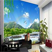 Blue Sky Scenery Rainbow Waterfall Video Mural