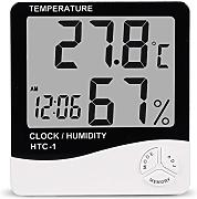 Bluelover Htc-1 Digital Lcd Electronic Alarm Clock Termómetro Higrómetro Weather Station Interior Room Table
