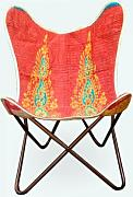 Butterfly Chair silla mariposa handmade with Indian fabric and heavy-duty canvas - desmontable - easy assembly, black metal frame