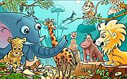 Cartoon Animal Paradise 3D Picture Wallpaper Kids
