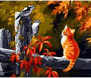 Cat And Birds Diy Pintura By Numbers Animales