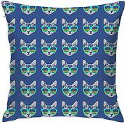 Cat Head with Glasses Throw Pillow Covers