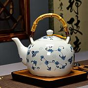 Ceramic Teapot 1500ml, Large Capacity, Blue And