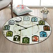 Creativo Retro Reloj de Pared Alfombra Redonda