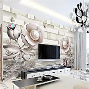 Custom 3D Wall Paper 3D Stereo Rose Water