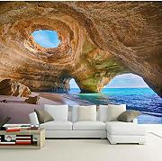 Custom Any Size 3D Mural Wallpaper Beach Reef Cave