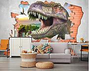 Custom Wallpaper 3D Jurassic Era Dinosaur Brick Tv