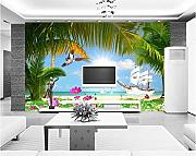 Custom Wallpaper Island Coconut Palm Sunshine
