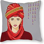 DKISEE Woman with Turban Decorative Square Throw