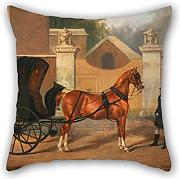 Elegancebeauty 16 X 16 Inches / 40 By 40 Cm Oil Painting Charles Hancock - Gentlemen's Carriages- A Cabriolet Pillowcase,two Sides Is Fit For Teens,divan,dance Room,coffee House,deck Chair