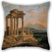 "Elegancebeauty Oil Painting LluÃ""s Rigalt - Landscape With Ruins Pillow Covers 18 X 18 Inches / 45 By 45 Cm For Gf,divan,festival,kids Boys,drawing Room,girls With Double Sides"