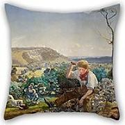 Elegancebeauty Pillow Covers Of Oil Painting John Brett - The Stonebreaker 16 X 16 Inches / 40 By 40 Cm,best Fit For Girls,divan,valentine,outdoor,him,drawing Room Twice Sides